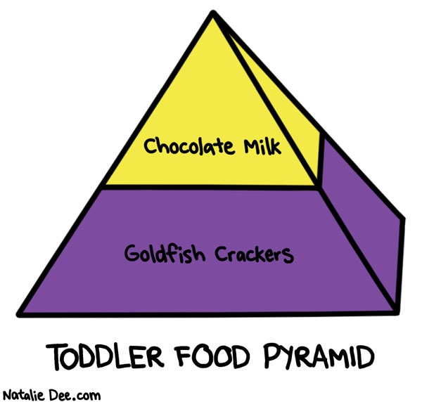 Natalie Dee comic: i really dont know how they dont get scurvy * Text: chocolate milk goldfish crackers toddler food pyramid