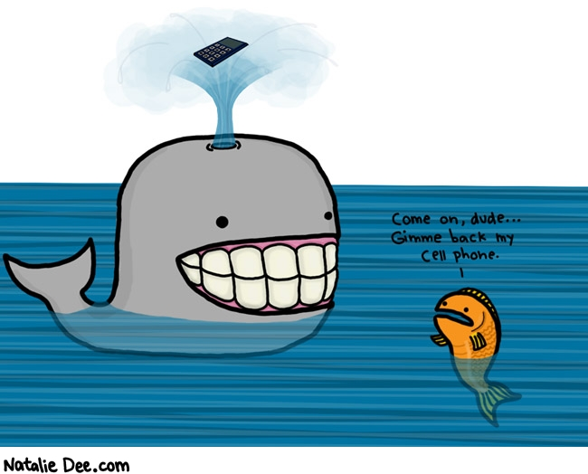 Natalie Dee comic: whales are assholes * Text:   Come on, dude...Gimme back my cell phone.