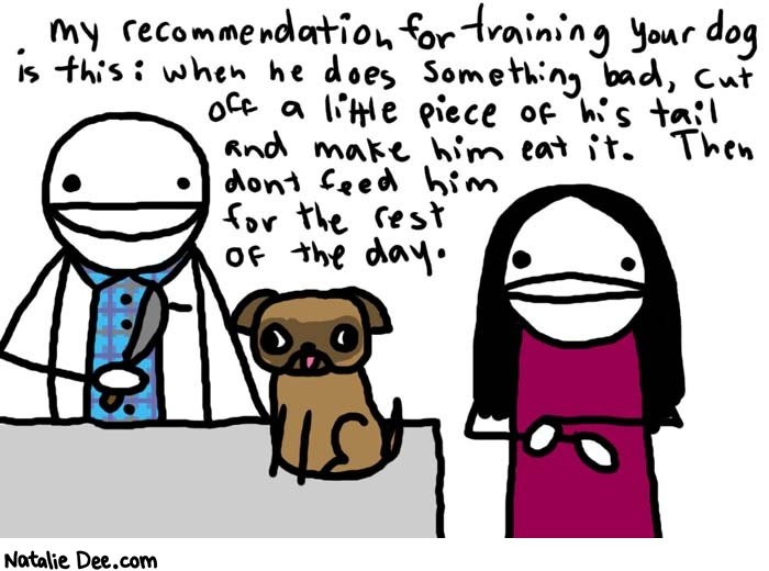 Natalie Dee comic: a visit with sadistic vet * Text:   My recommendation for training your dog is this: when he does something bad, cut off a little piece of his tail and make him eat it. Then don't feed him for the rest of the day.