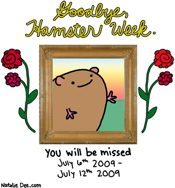 Natalie Dee comic: get in the shoebox hamster week * Text: goodbye hamster week you will be missed july 6th 2009 july 12 2009