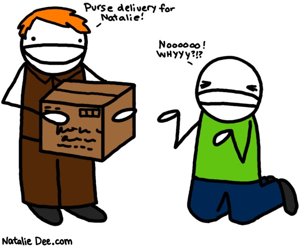 Natalie Dee comic: purse delivery * Text: 