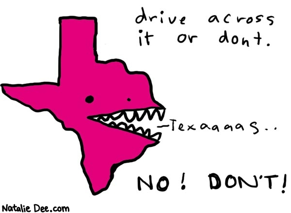 Natalie Dee comic: texas * Text:   drive across it or dont.   Texaaaas..   NO! DON'T!