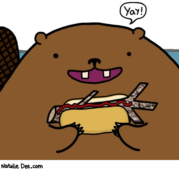 Natalie Dee comic: that beaver loves lunchtime * Text: yay