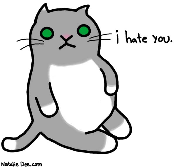 Natalie Dee comic: cats hate you and everyone else * Text:   i hate you.
