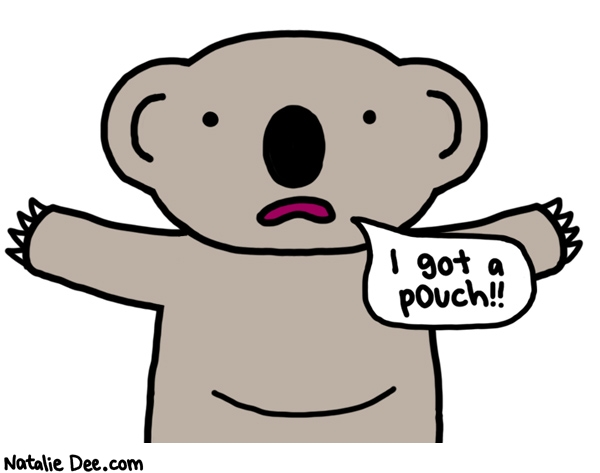 Natalie Dee comic: why did i have to learn that koalas have pouches from a childrens book * Text: i got a pouch