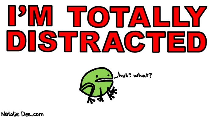 Natalie Dee comic: what sorry i missed that * Text: i'm totally distracted frog