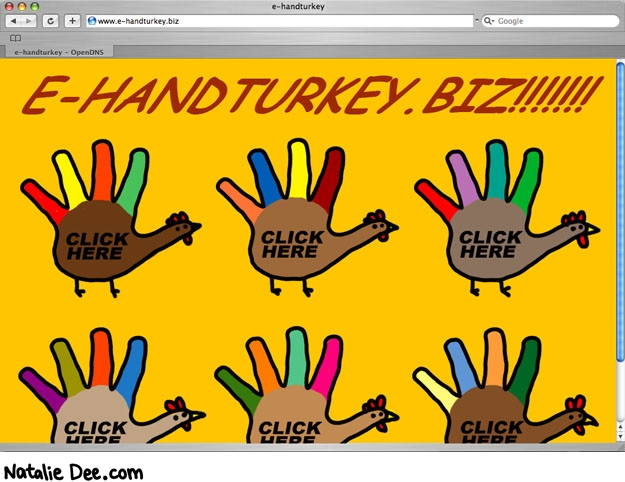Natalie Dee comic: web three point oh * Text: e-handturkey.biz!!!!!! click here